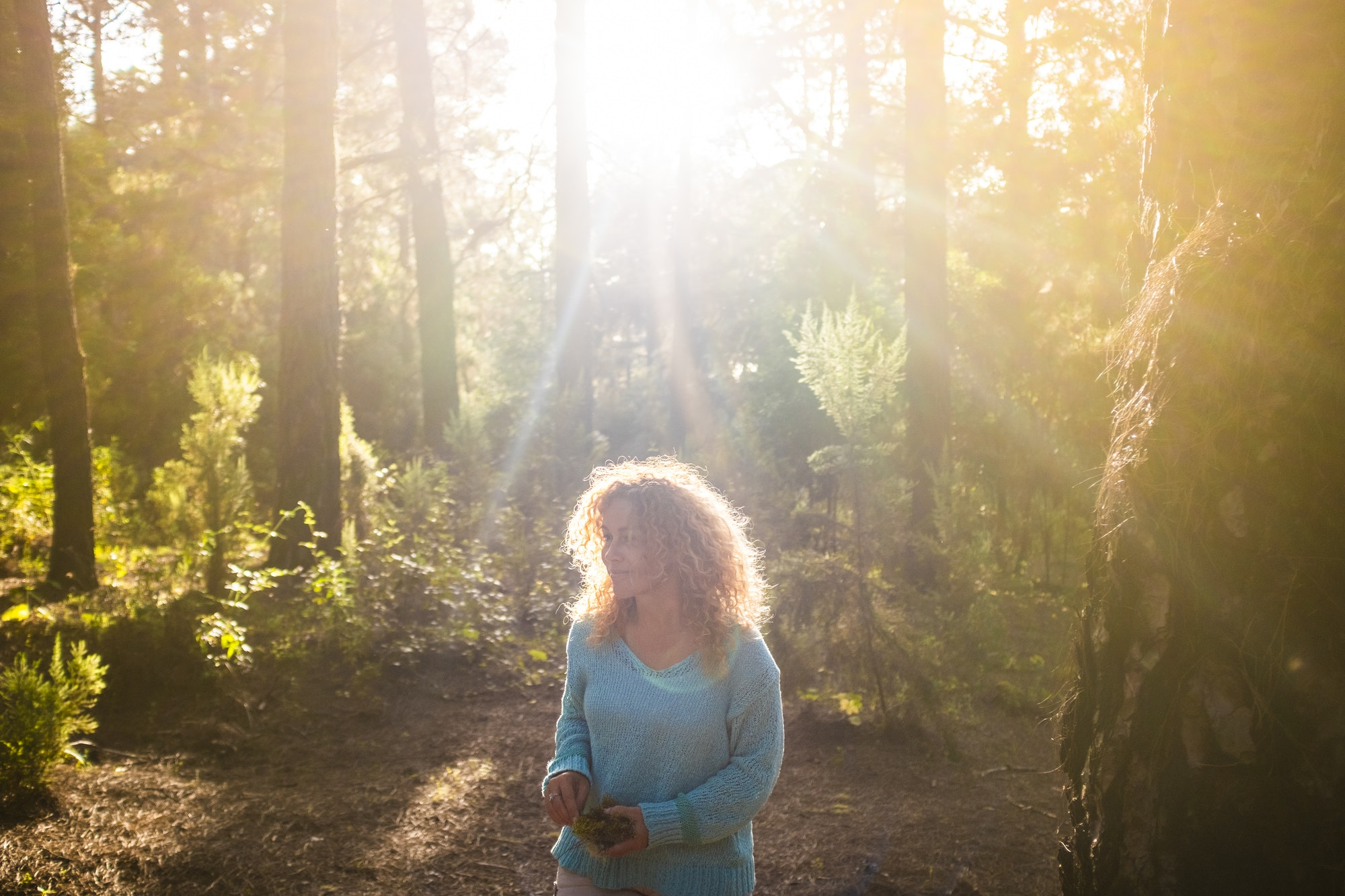 People walking in the forest wood in outdoor leisure activity